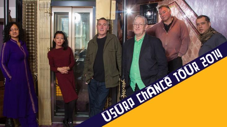 Usurp Tour artists: Stewart Lee, Steve Beresford, Tania Chen, Poulomi Desai, Simon Underwood and Seth Ayyaz