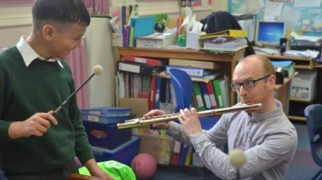 Flautist Anthony Robb at a Big Ears workshop with school pupil