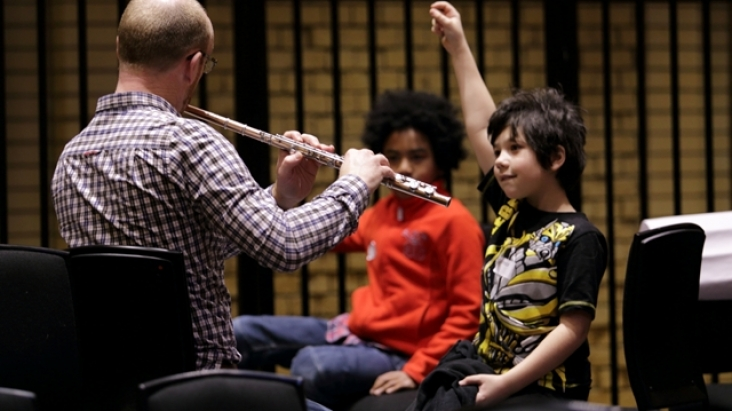 Participants at a Music Maze with flautist Tony Robb