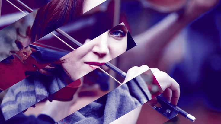BCMG promotional image of composer Helen Grime and hand bowing
