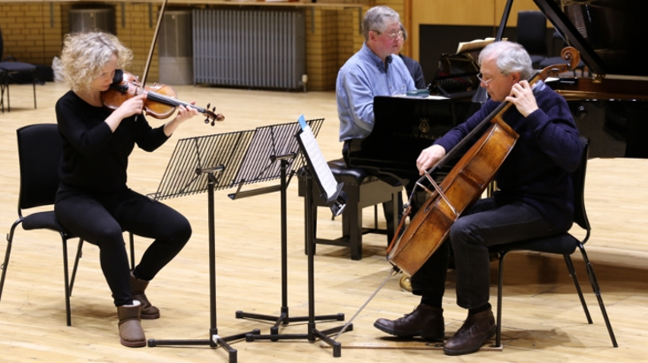 BCMG players rehearsing Ives' Trio