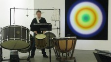 BCMG percussionist Julian Warburton performing at Ikon Gallery